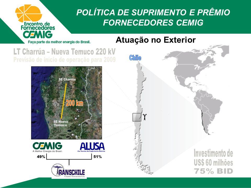 Atuação no Exterior POLÍTICA DE SUPRIMENTO E PRÊMIO FORNECEDORES CEMIG