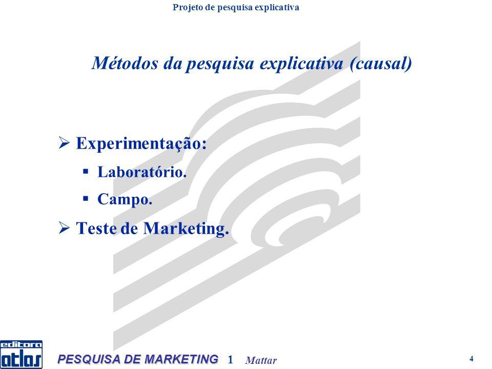 Mattar PESQUISA DE MARKETING 1 4 Experimentação: Laboratório. Campo. Teste de Marketing. Métodos da pesquisa explicativa (causal) Projeto de pesquisa