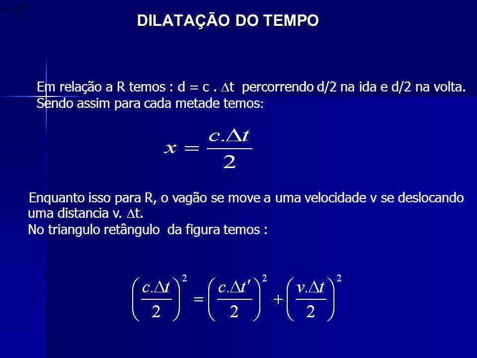 DILATAÇÃO DO TEMPO DILATAÇÃO DO TEMPO Em relação a R temos : d = c. t percorrendo d/2 na ida e d/2 na volta. Sendo assim para cada metade temos : Enqu