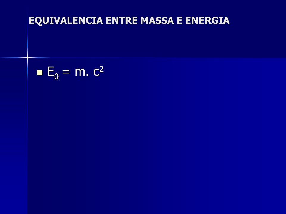 EQUIVALENCIA ENTRE MASSA E ENERGIA E 0 = m. c 2 E 0 = m. c 2