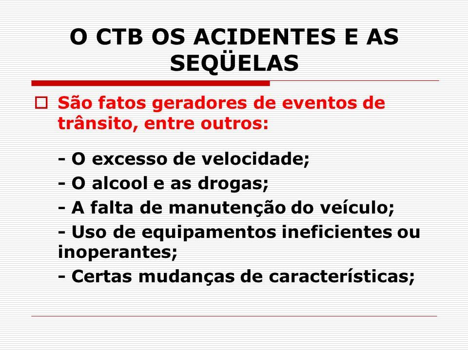 O CTB OS ACIDENTES E AS SEQÜELAS São fatos geradores de eventos de trânsito, entre outros: - O excesso de velocidade; - O alcool e as drogas; - A falt