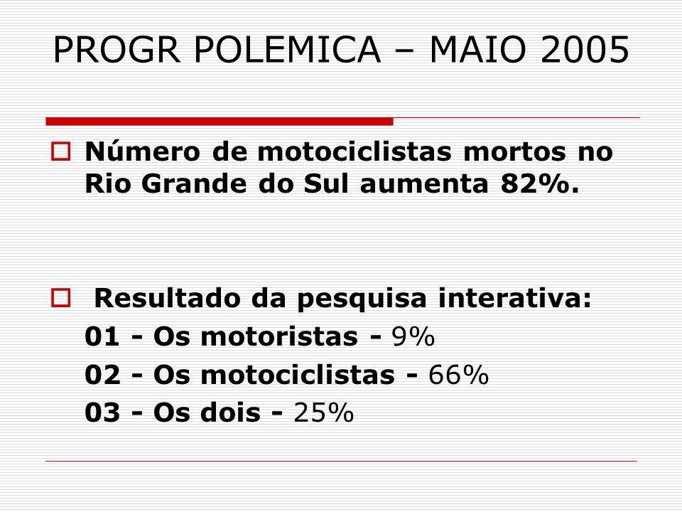 PROGR POLEMICA – MAIO 2005 Número de motociclistas mortos no Rio Grande do Sul aumenta 82%. Resultado da pesquisa interativa: 01 - Os motoristas - 9%