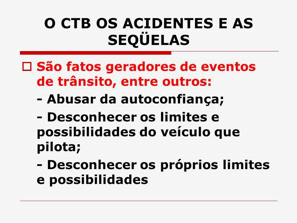 O CTB OS ACIDENTES E AS SEQÜELAS São fatos geradores de eventos de trânsito, entre outros: - Abusar da autoconfiança; - Desconhecer os limites e possi