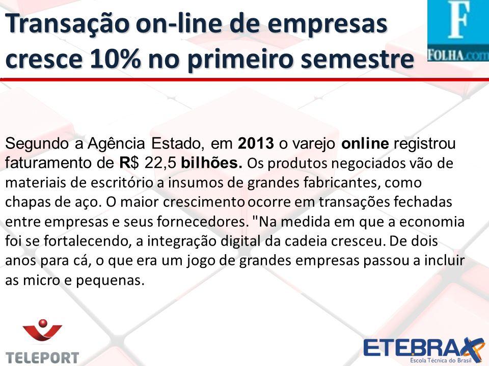 Transação on-line de empresas cresce 10% no primeiro semestre Segundo a Agência Estado, em 2013 o varejo online registrou faturamento de R$ 22,5 bilhõ