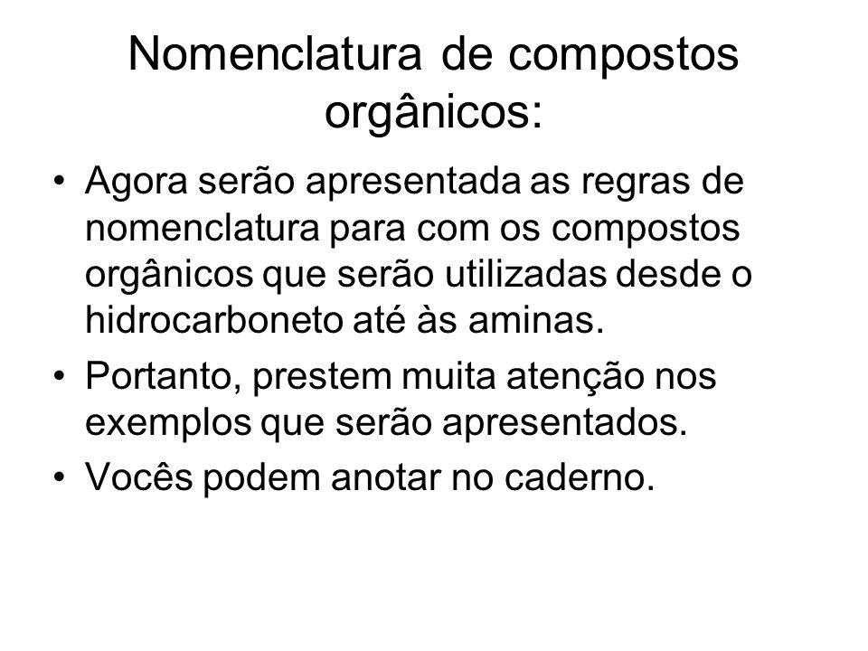 Nomenclatura de compostos orgânicos: Agora serão apresentada as regras de nomenclatura para com os compostos orgânicos que serão utilizadas desde o hi