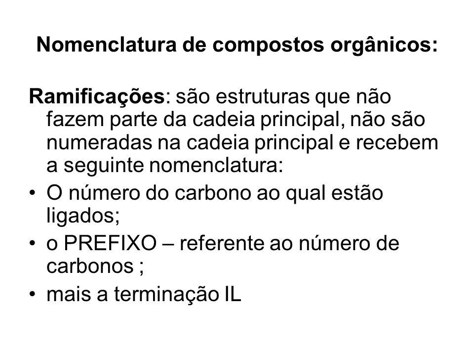 Nomenclatura de compostos orgânicos: Cadeia principal: é a maior sequência de carbonos ligados e são numeradas favorecendo o início da numeração do lado mais próximo à: 1.
