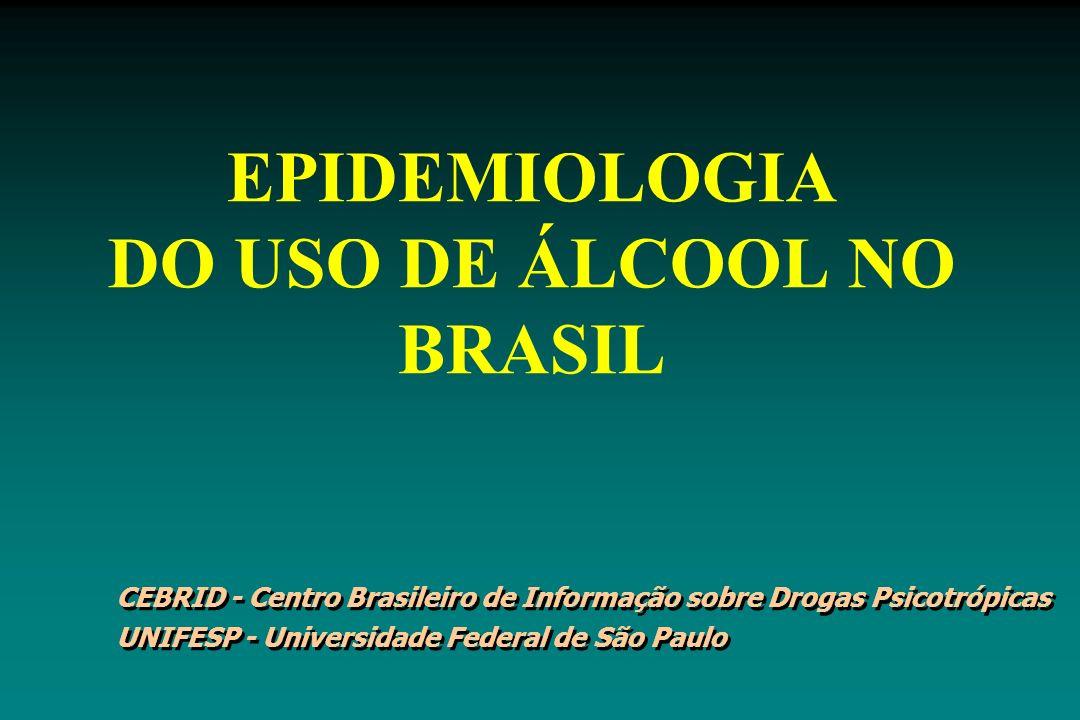 EPIDEMIOLOGIA DO USO DE ÁLCOOL NO BRASIL CEBRID - Centro Brasileiro de Informação sobre Drogas Psicotrópicas UNIFESP - Universidade Federal de São Pau