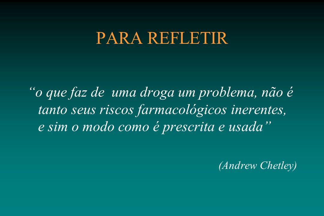PARA REFLETIR o que faz de uma droga um problema, não é tanto seus riscos farmacológicos inerentes, e sim o modo como é prescrita e usada (Andrew Chet