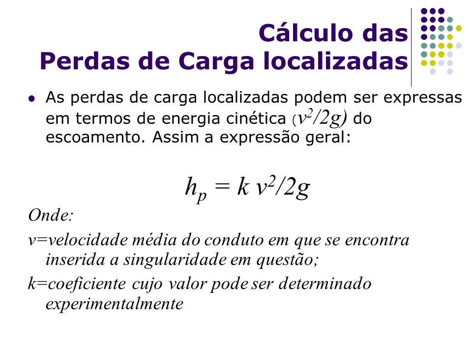 Cálculo das Perdas de Carga localizadas As perdas de carga localizadas podem ser expressas em termos de energia cinética ( v 2 /2g) do escoamento. Ass