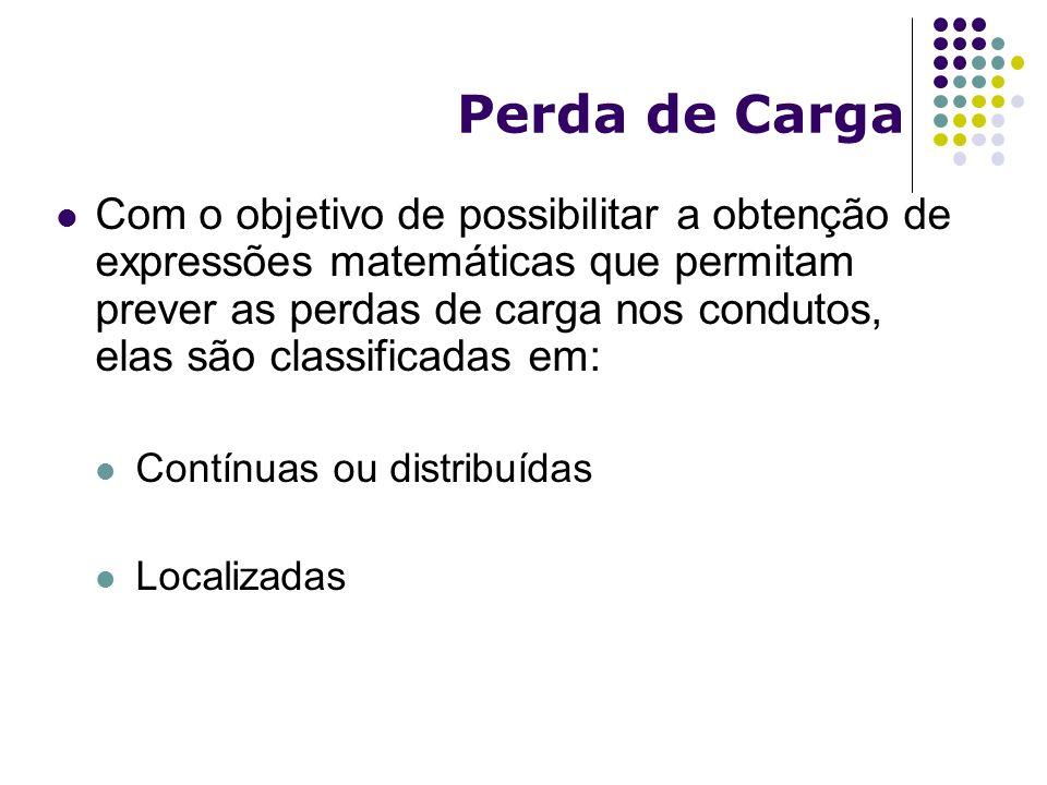 Perda de Carga Com o objetivo de possibilitar a obtenção de expressões matemáticas que permitam prever as perdas de carga nos condutos, elas são class