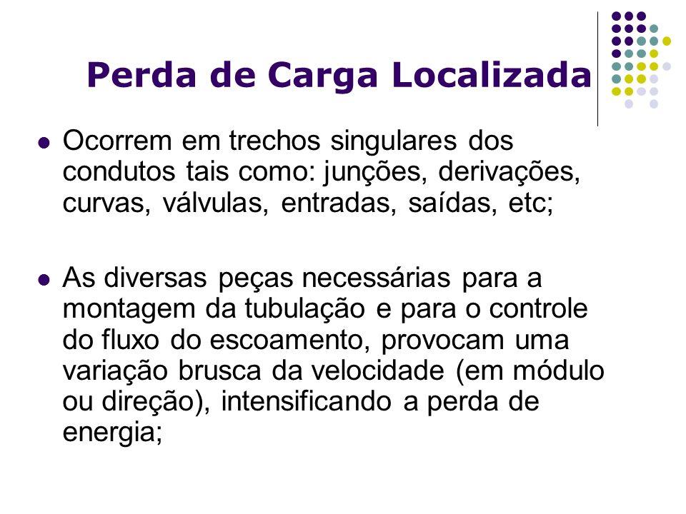Perda de Carga Localizada Ocorrem em trechos singulares dos condutos tais como: junções, derivações, curvas, válvulas, entradas, saídas, etc; As diver