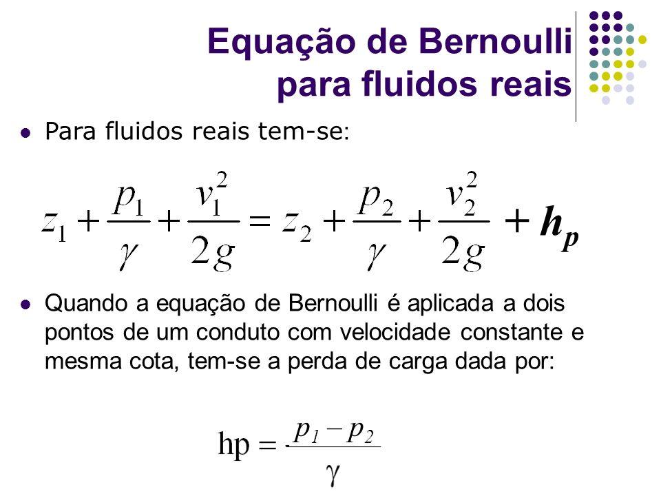 Para fluidos reais tem-se : Quando a equação de Bernoulli é aplicada a dois pontos de um conduto com velocidade constante e mesma cota, tem-se a perda