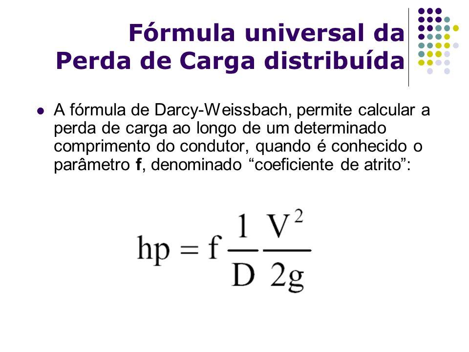 Fórmula universal da Perda de Carga distribuída Darcy-Weissbach: O coeficiente de atrito, pode ser determinado utilizando-se o diagrama de Moody, partindo-se da relação entre: Rugosidade e Diâmetro do tubo (ε/D) Número de Reynolds (R e ) O número de Reynolds é um parâmetro adimensional que relaciona forças viscosas com as forças de inércia, e é dado por: R e = ρvD ρ = massa específica; v = velocidade; D = diâmetro; μ = viscosidade dinâmica