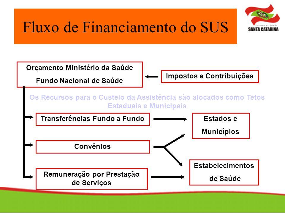 Fluxo de Financiamento do SUS Impostos e Contribuições Orçamento Ministério da Saúde Fundo Nacional de Saúde Estados e Municípios Estabelecimentos de