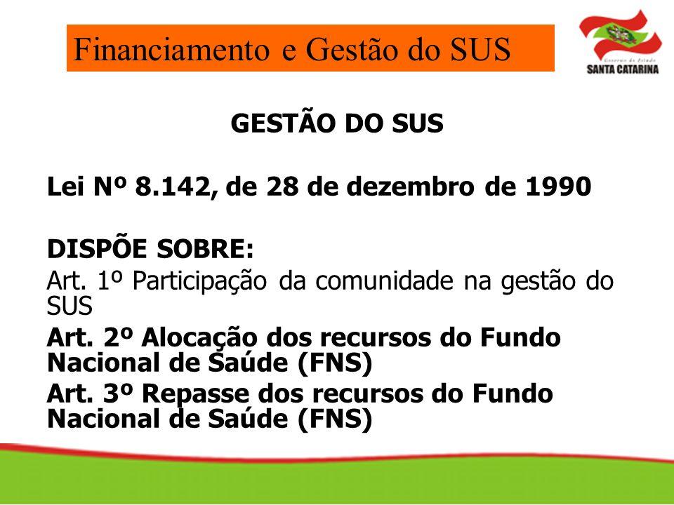 GESTÃO DO SUS Lei Nº 8.142, de 28 de dezembro de 1990 DISPÕE SOBRE: Art. 1º Participação da comunidade na gestão do SUS Art. 2º Alocação dos recursos