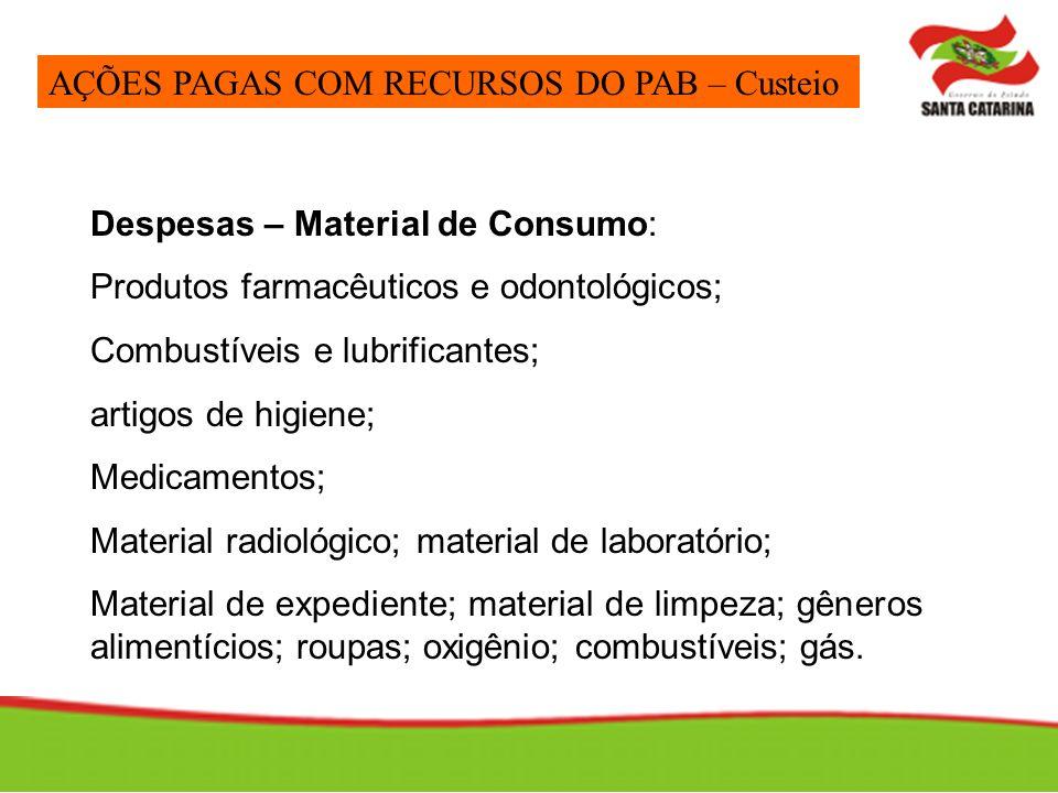 Despesas – Material de Consumo: Produtos farmacêuticos e odontológicos; Combustíveis e lubrificantes; artigos de higiene; Medicamentos; Material radio