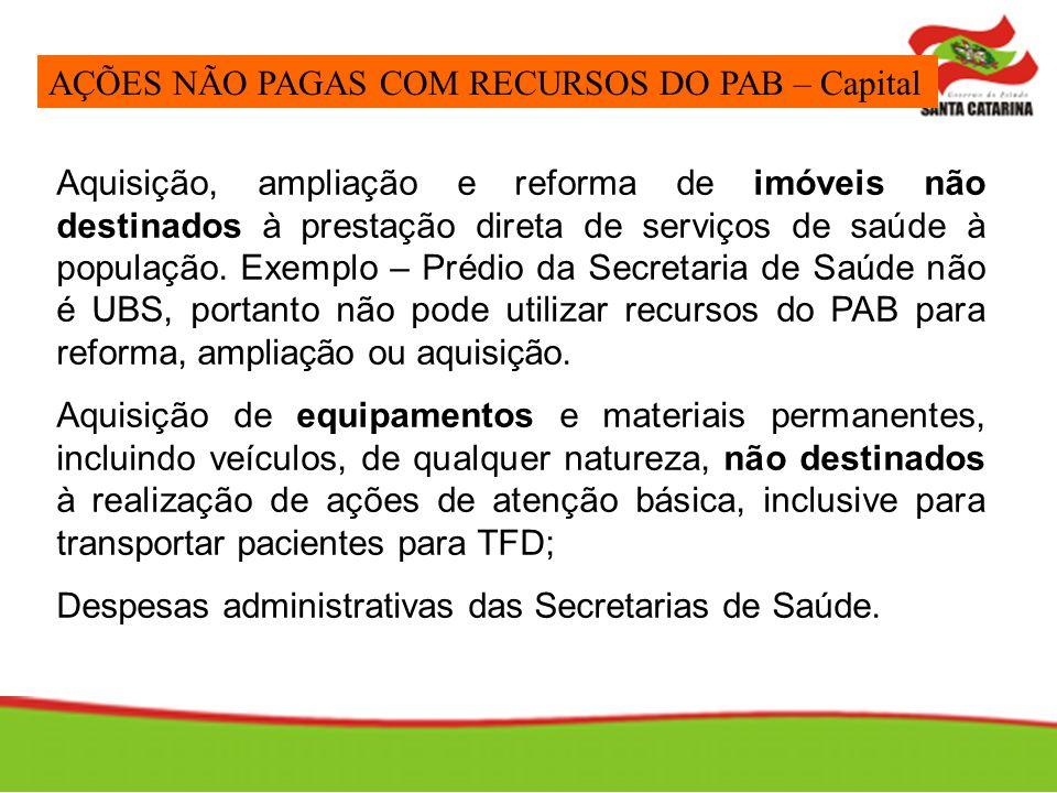 Aquisição, ampliação e reforma de imóveis não destinados à prestação direta de serviços de saúde à população. Exemplo – Prédio da Secretaria de Saúde