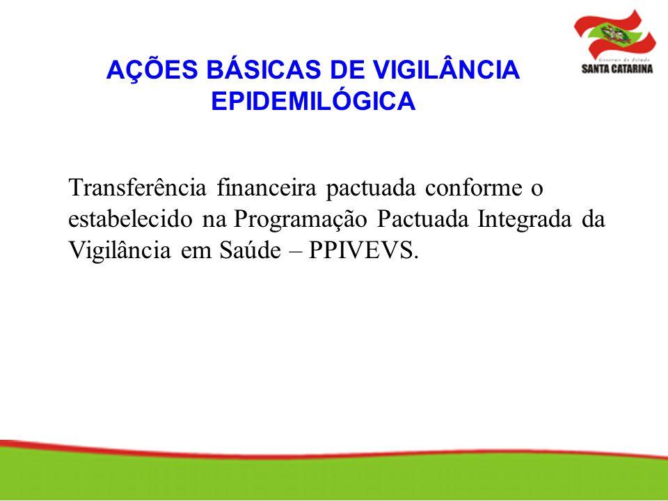 AÇÕES BÁSICAS DE VIGILÂNCIA EPIDEMILÓGICA Transferência financeira pactuada conforme o estabelecido na Programação Pactuada Integrada da Vigilância em