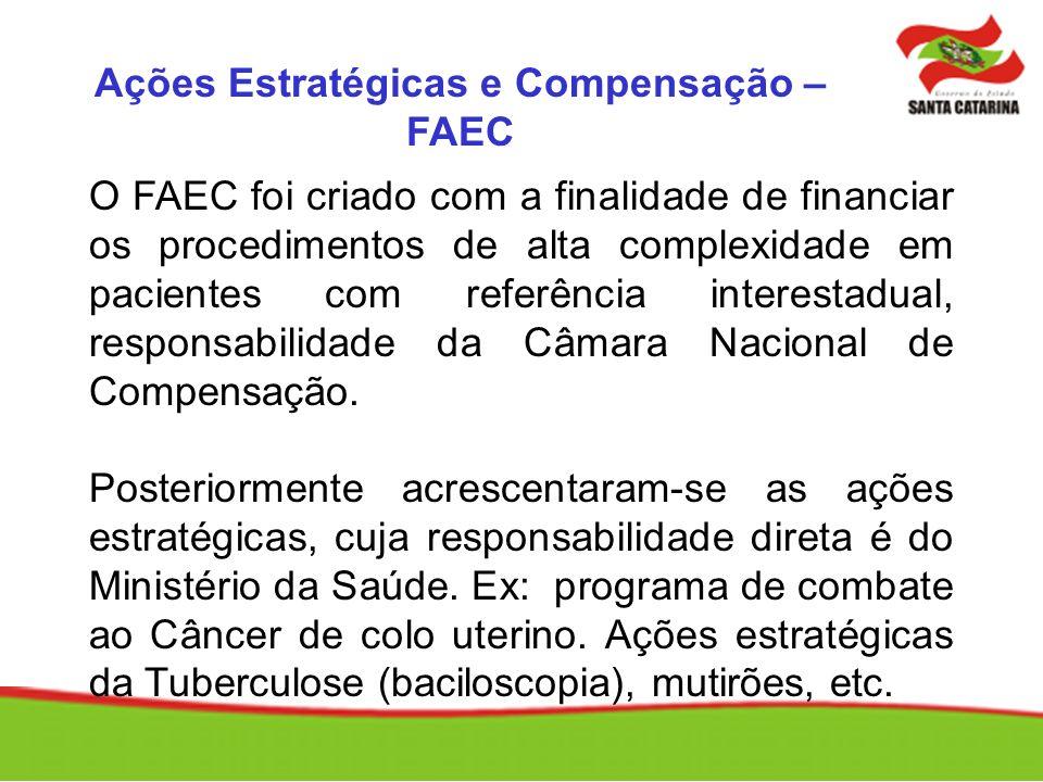 O FAEC foi criado com a finalidade de financiar os procedimentos de alta complexidade em pacientes com referência interestadual, responsabilidade da C