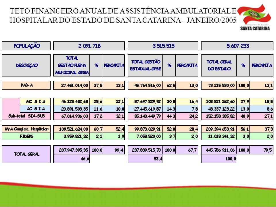 TETO FINANCEIRO ANUAL DE ASSISTÊNCIA AMBULATORIAL E HOSPITALAR DO ESTADO DE SANTA CATARINA - JANEIRO/2005