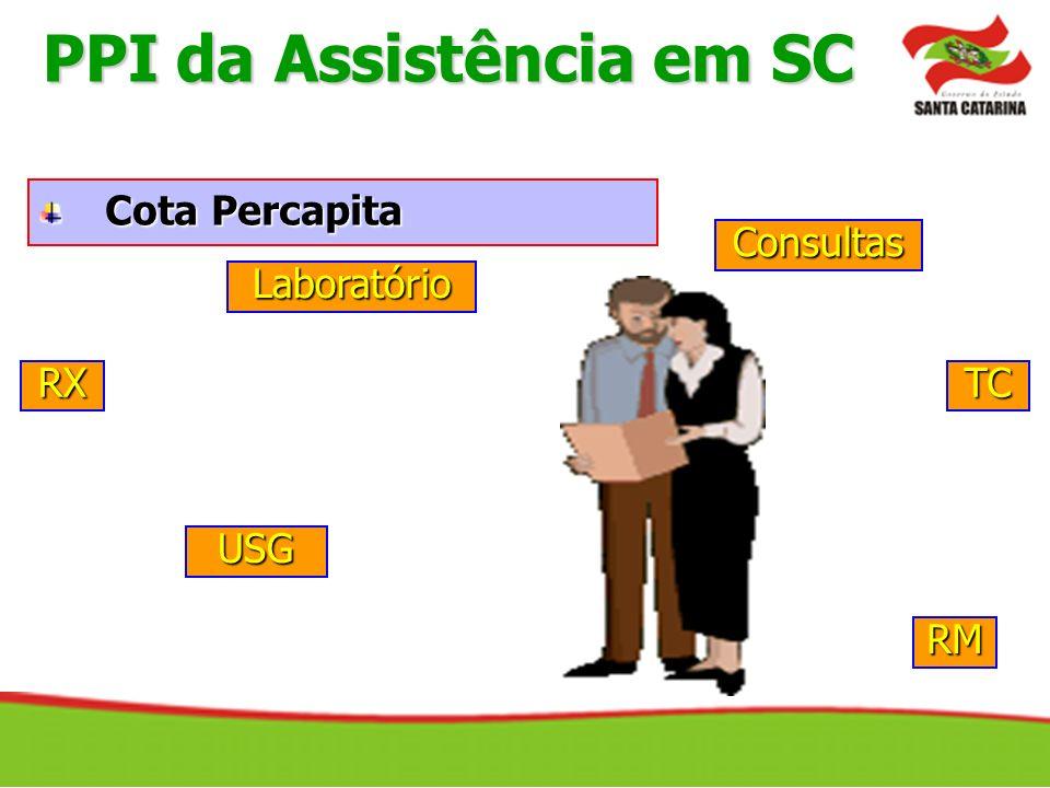 Cota Percapita Consultas Laboratório USG RXTC RM PPI da Assistência em SC