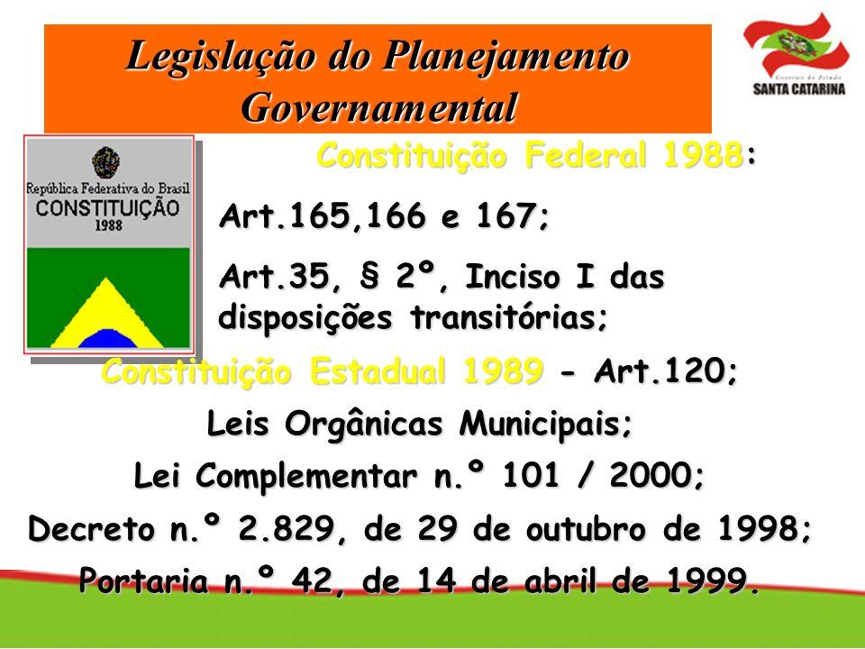Legislação do Planejamento Governamental Constituição Federal 1988: Art.165,166 e 167; Art.35, § 2º, Inciso I das disposições transitórias; Constituiç
