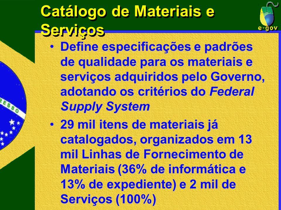 Catálogo de Materiais e Serviços Define especificações e padrões de qualidade para os materiais e serviços adquiridos pelo Governo, adotando os critér