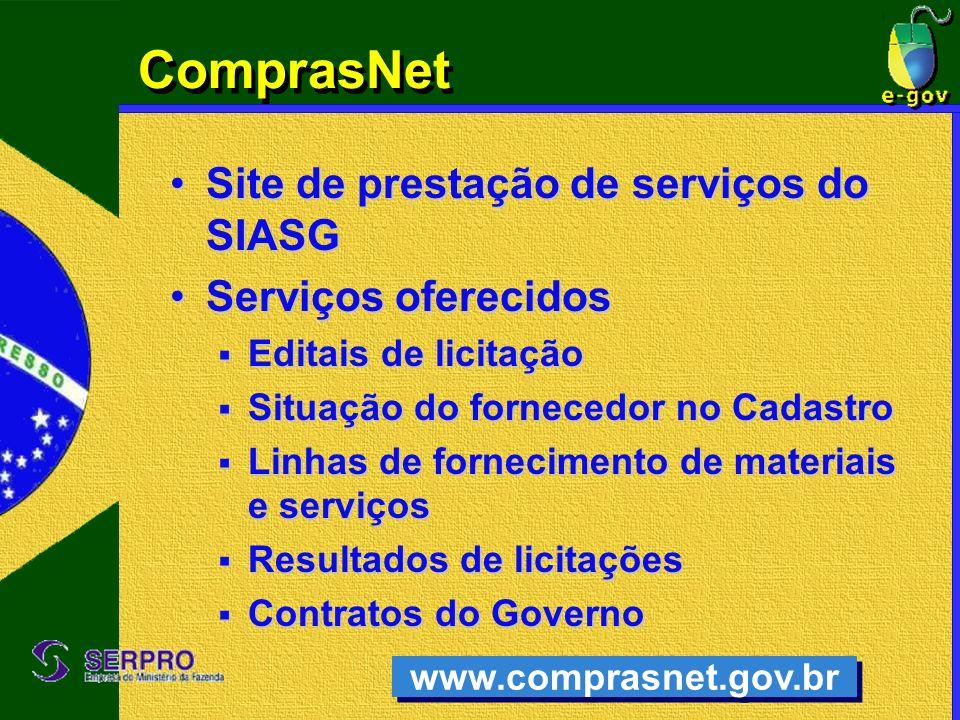 ComprasNet Site de prestação de serviços do SIASGSite de prestação de serviços do SIASG Serviços oferecidosServiços oferecidos Editais de licitação Ed