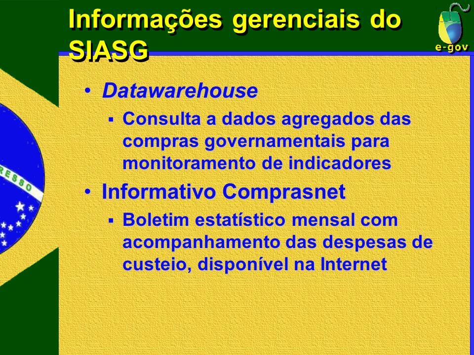 Informações gerenciais do SIASG DatawarehouseDatawarehouse Consulta a dados agregados das compras governamentais para monitoramento de indicadores Con