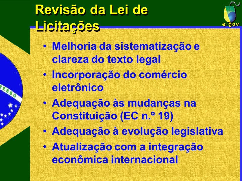Revisão da Lei de Licitações Melhoria da sistematização e clareza do texto legalMelhoria da sistematização e clareza do texto legal Incorporação do co