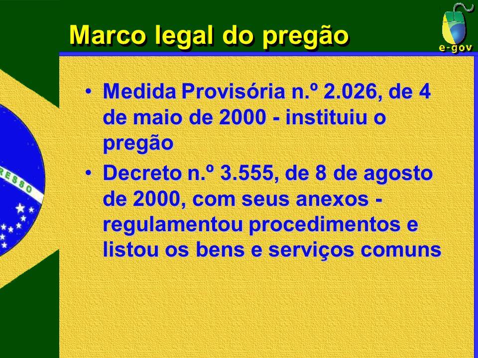 Marco legal do pregão Medida Provisória n.º 2.026, de 4 de maio de 2000 - instituiu o pregãoMedida Provisória n.º 2.026, de 4 de maio de 2000 - instit