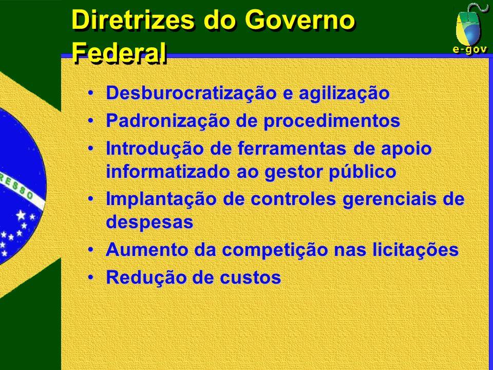 Diretrizes do Governo Federal Desburocratização e agilizaçãoDesburocratização e agilização Padronização de procedimentosPadronização de procedimentos