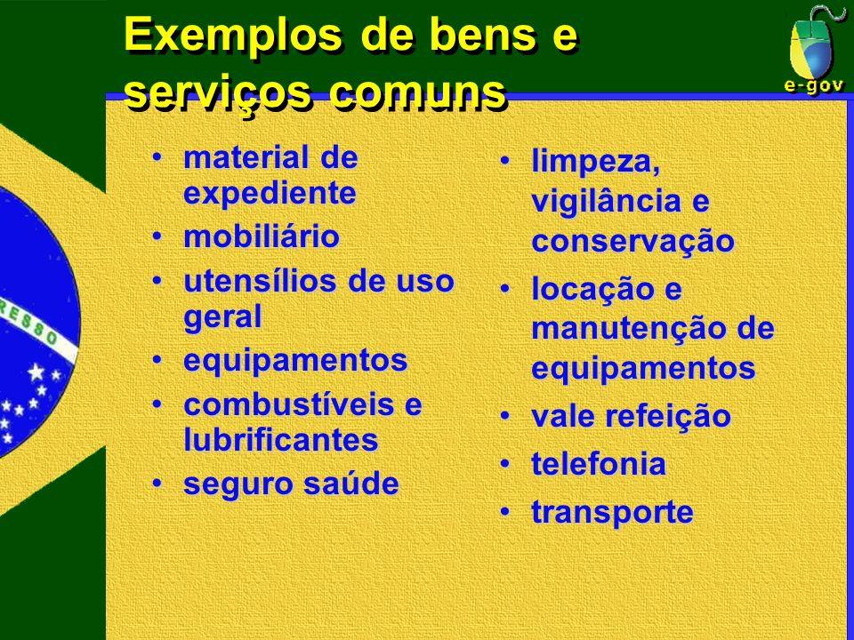 Exemplos de bens e serviços comuns material de expedientematerial de expediente mobiliáriomobiliário utensílios de uso geralutensílios de uso geral eq