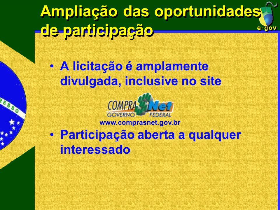 www.comprasnet.gov.br Ampliação das oportunidades de participação A licitação é amplamente divulgada, inclusive no siteA licitação é amplamente divulg