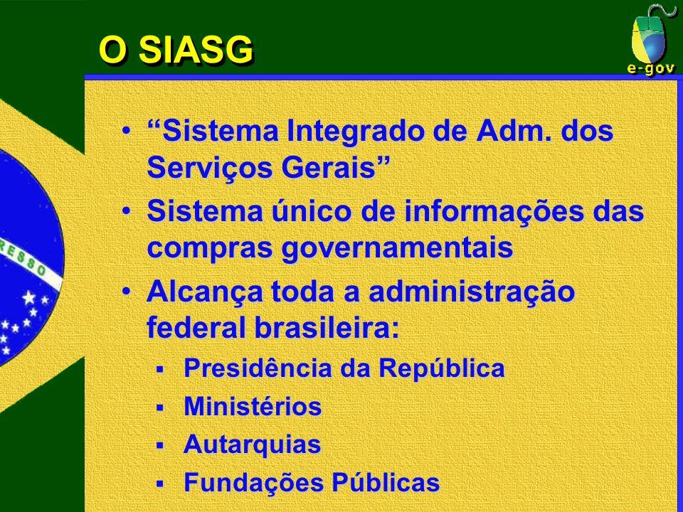 O SIASG Sistema Integrado de Adm. dos Serviços GeraisSistema Integrado de Adm. dos Serviços Gerais Sistema único de informações das compras governamen