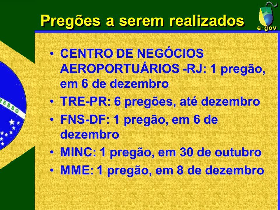 Pregões a serem realizados CENTRO DE NEGÓCIOS AEROPORTUÁRIOS -RJ: 1 pregão, em 6 de dezembroCENTRO DE NEGÓCIOS AEROPORTUÁRIOS -RJ: 1 pregão, em 6 de d