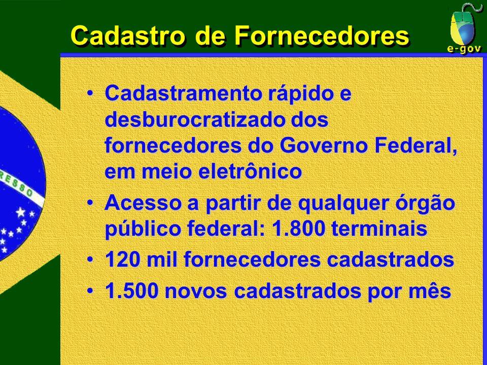 Cadastro de Fornecedores Cadastramento rápido e desburocratizado dos fornecedores do Governo Federal, em meio eletrônicoCadastramento rápido e desburo