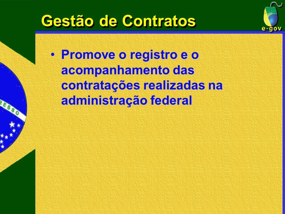 Gestão de Contratos Promove o registro e o acompanhamento das contratações realizadas na administração federalPromove o registro e o acompanhamento da