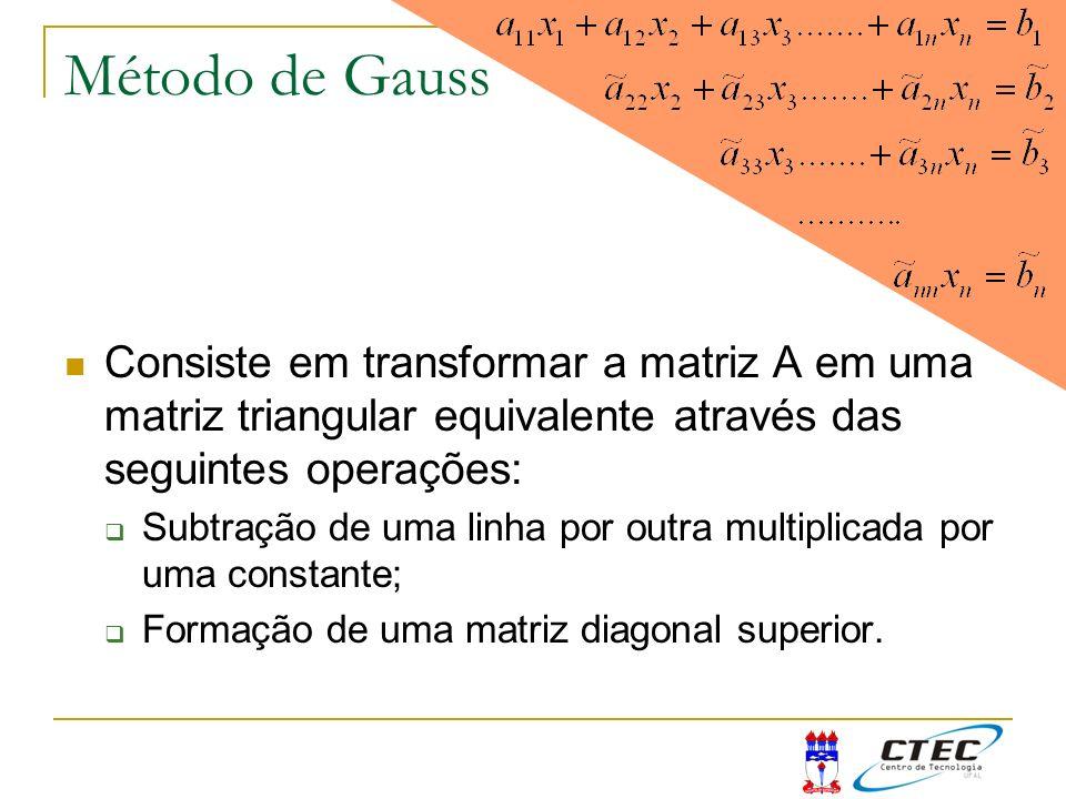 Método de Gauss Consiste em transformar a matriz A em uma matriz triangular equivalente através das seguintes operações: Subtração de uma linha por ou