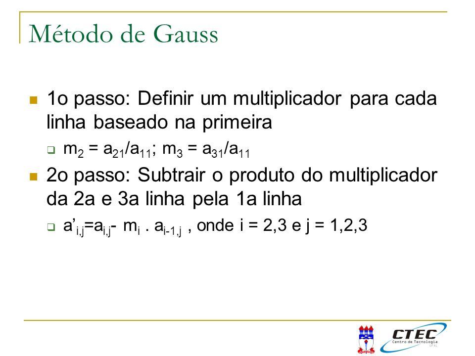 Método de Gauss 1o passo: Definir um multiplicador para cada linha baseado na primeira m 2 = a 21 /a 11 ; m 3 = a 31 /a 11 2o passo: Subtrair o produt