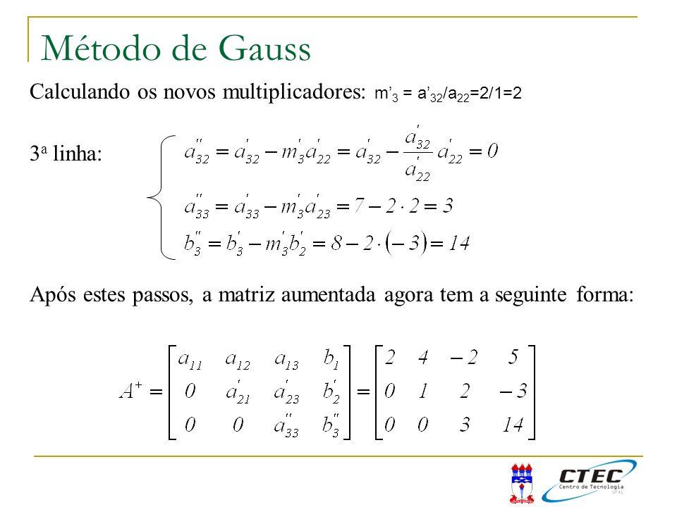Método de Gauss 3 a linha: Calculando os novos multiplicadores: m 3 = a 32 /a 22 =2/1=2 Após estes passos, a matriz aumentada agora tem a seguinte for