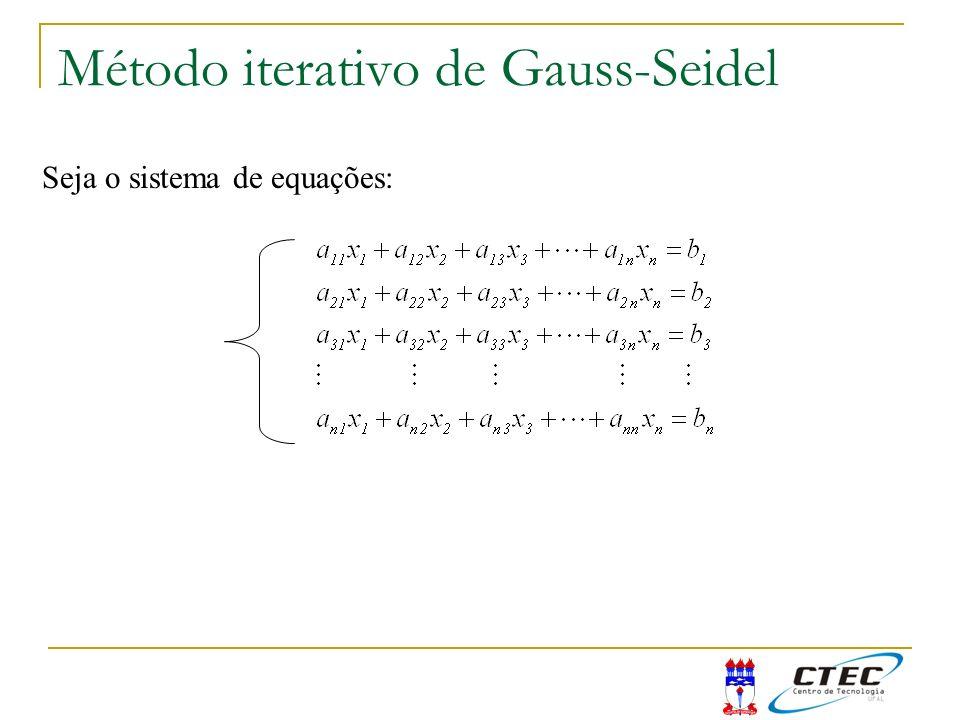 Método iterativo de Gauss-Seidel Seja o sistema de equações: