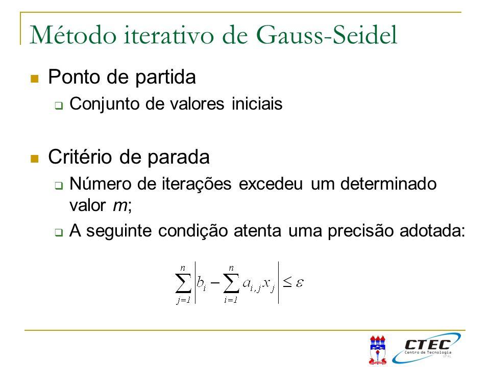 Método iterativo de Gauss-Seidel Ponto de partida Conjunto de valores iniciais Critério de parada Número de iterações excedeu um determinado valor m;