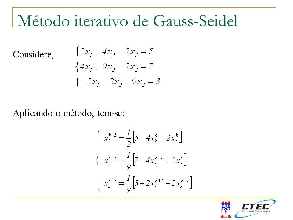 Método iterativo de Gauss-Seidel Considere, Aplicando o método, tem-se: