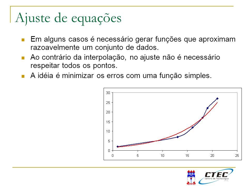 Ajuste de equações Em alguns casos é necessário gerar funções que aproximam razoavelmente um conjunto de dados. Ao contrário da interpolação, no ajust