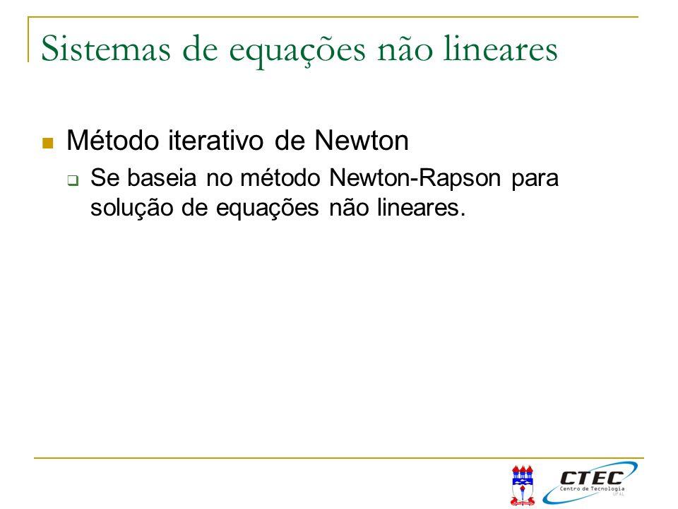 Sistemas de equações não lineares Método iterativo de Newton Se baseia no método Newton-Rapson para solução de equações não lineares.