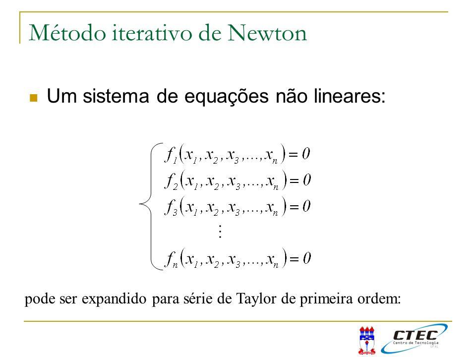 Método iterativo de Newton Um sistema de equações não lineares: pode ser expandido para série de Taylor de primeira ordem: