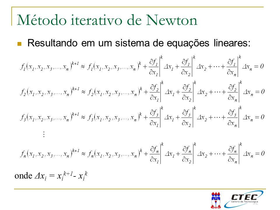 Método iterativo de Newton Resultando em um sistema de equações lineares: onde Δx i = x i k+1 - x i k