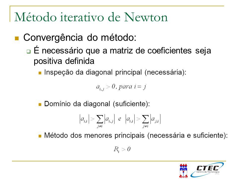 Método iterativo de Newton Convergência do método: É necessário que a matriz de coeficientes seja positiva definida Inspeção da diagonal principal (ne