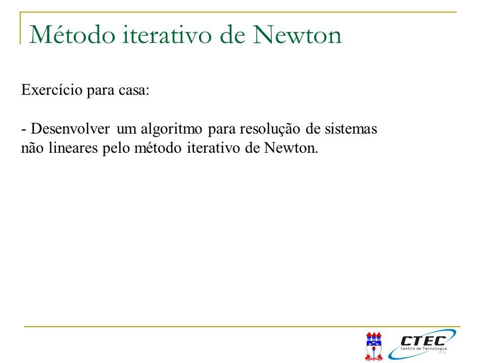 Método iterativo de Newton Exercício para casa: - Desenvolver um algoritmo para resolução de sistemas não lineares pelo método iterativo de Newton.